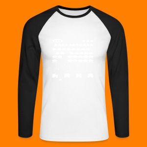 70s and 80s invaders video game - men's tee - Men's Long Sleeve Baseball T-Shirt