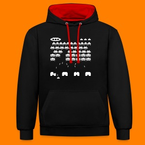 70s and 80s invaders video game - women's tee - Contrast Colour Hoodie