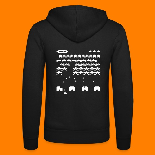 70s and 80s invaders video game - women's tee - Unisex Hooded Jacket by Bella + Canvas