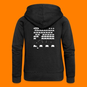 70s and 80s invaders video game - women's tee - Women's Premium Hooded Jacket