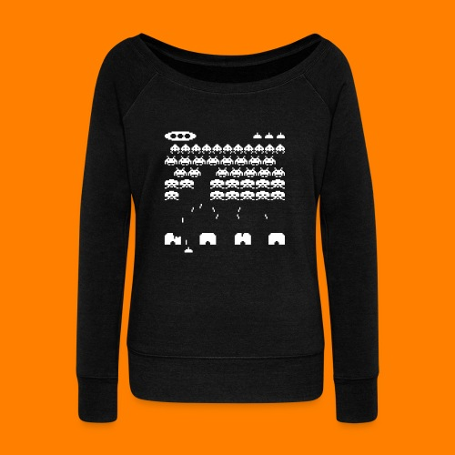 70s and 80s invaders video game - women's tee - Women's Boat Neck Long Sleeve Top