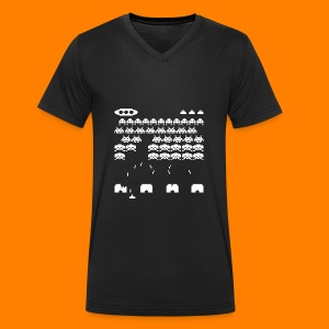 70s and 80s invaders video game - women's tee - Men's Organic V-Neck T-Shirt by Stanley & Stella