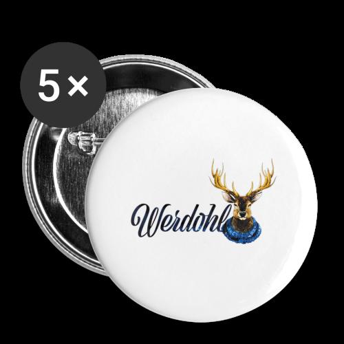 Hirsch mit Schal - Buttons groß 56 mm