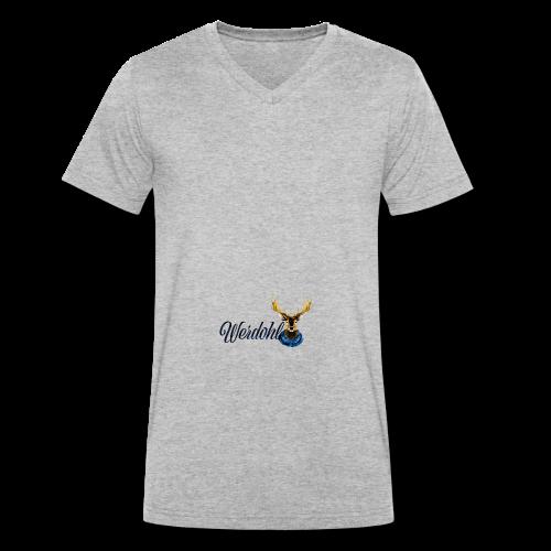 Hirsch mit Schal - Männer Bio-T-Shirt mit V-Ausschnitt von Stanley & Stella
