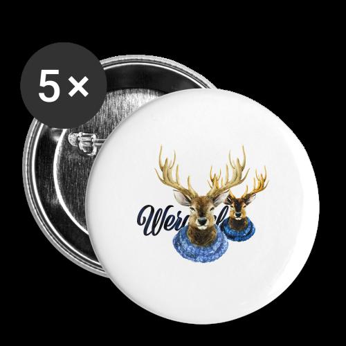 Hirsch mit Kragen - Buttons mittel 32 mm