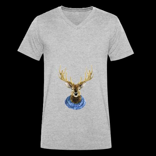 Hirsch mit Kragen - Männer Bio-T-Shirt mit V-Ausschnitt von Stanley & Stella