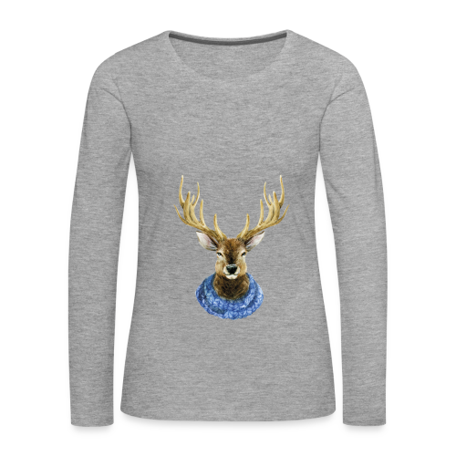 Hirsch mit Kragen - Frauen Premium Langarmshirt