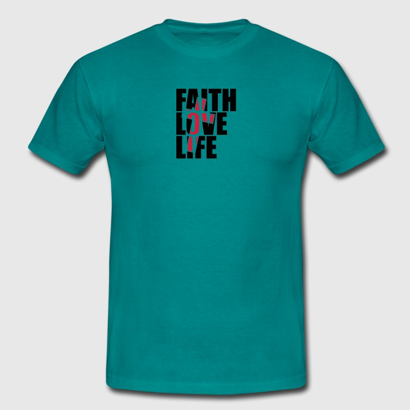 Red cross design jesus cool faith love life faith  T-Shirts - Men's T-Shirt