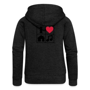 I Love House Music T-Shirts - Women's Premium Hooded Jacket