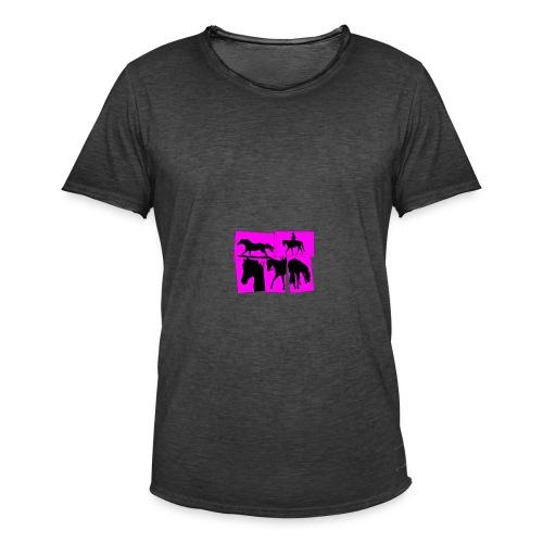 Pferde-Collage-schwarz_pink - Männer Vintage T-Shirt