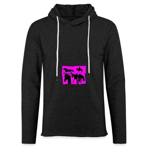 Pferde-Collage-schwarz_pink - Leichtes Kapuzensweatshirt Unisex