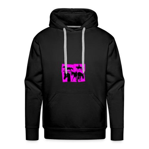 Pferde-Collage-schwarz_pink - Männer Premium Hoodie