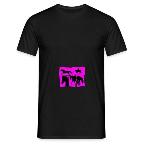 Pferde-Collage-schwarz_pink - Männer T-Shirt