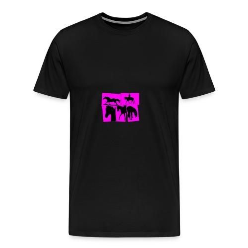 Pferde-Collage-schwarz_pink - Männer Premium T-Shirt