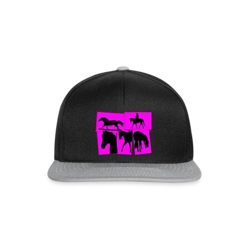 Pferde-Collage-schwarz_pink - Snapback Cap