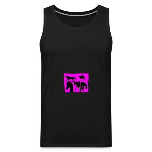 Pferde-Collage-schwarz_pink - Männer Premium Tank Top
