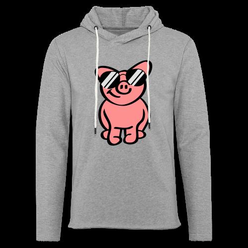 Schwein mit Sonnenbrille - Leichtes Kapuzensweatshirt Unisex