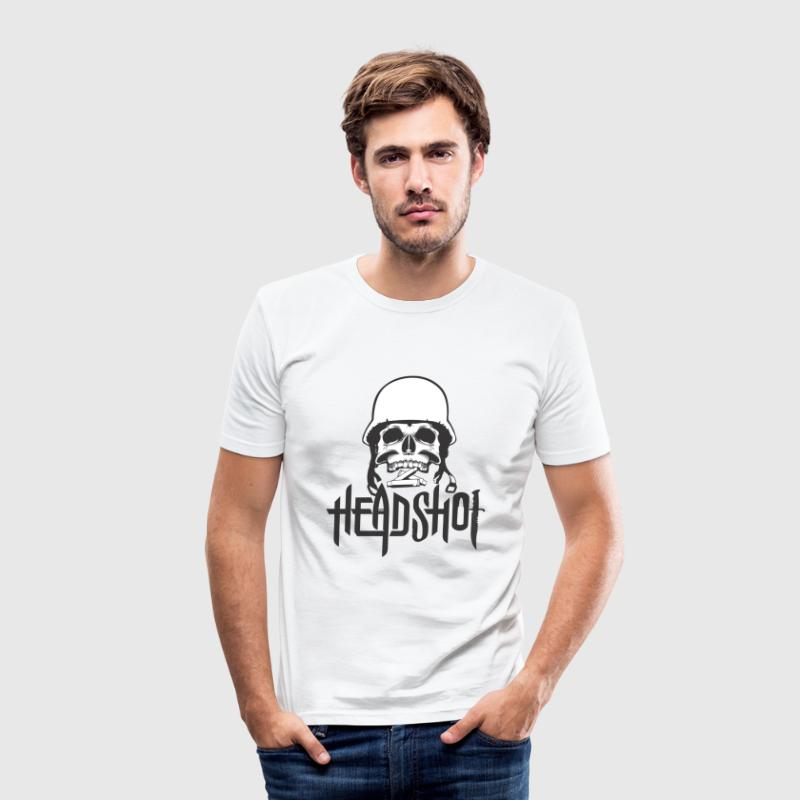 Headshot Military Skull Design - Men's Slim Fit T-Shirt