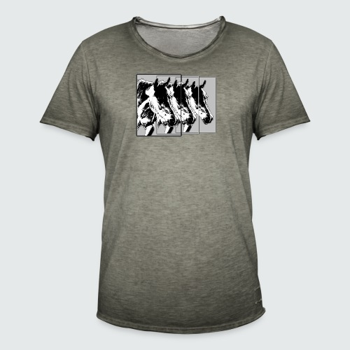 M-148-Pferde 3er Format-schwarz-weiss - Männer Vintage T-Shirt