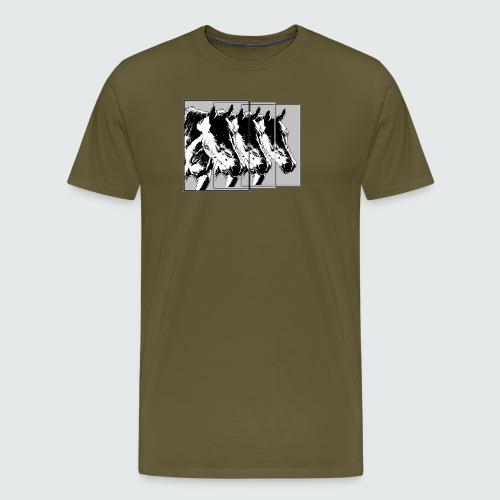 M-148-Pferde 3er Format-schwarz-weiss - Männer Premium T-Shirt