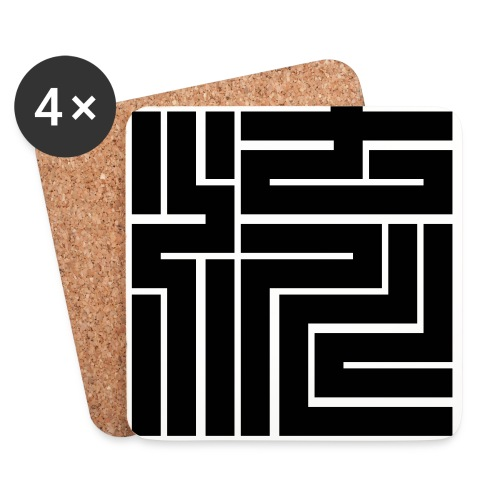 Nagare Daiko Blockschrift Basecap Flockdruck - Untersetzer (4er-Set)