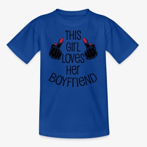 This Girl loves her Boyfriend Mittelfinger Hände T-Shirt - Kinder T-Shirt