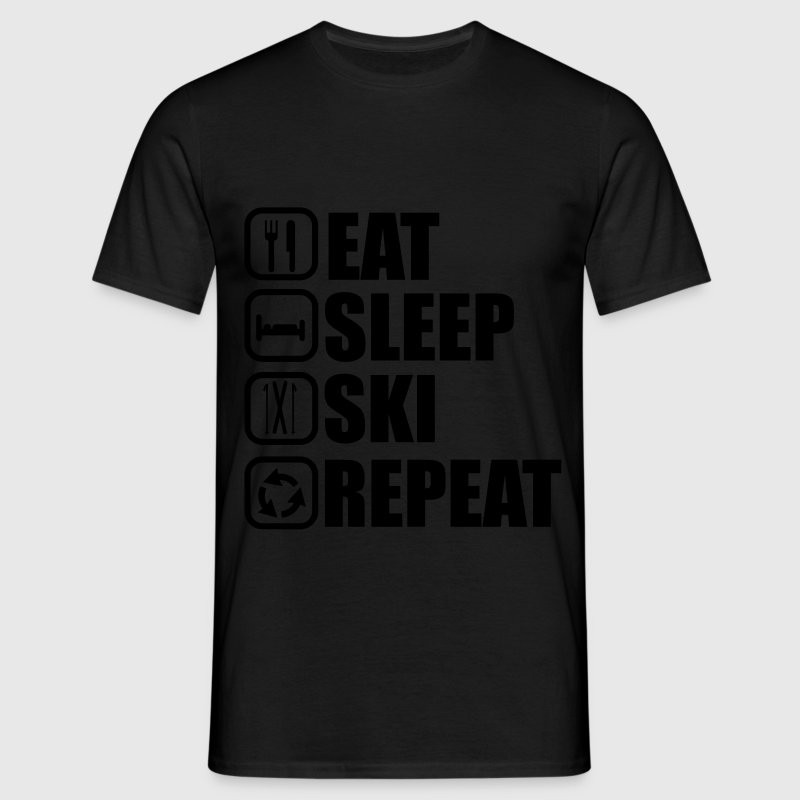 Eat,sleep,ski,repeat, Ski t-shirt  - T-shirt herr