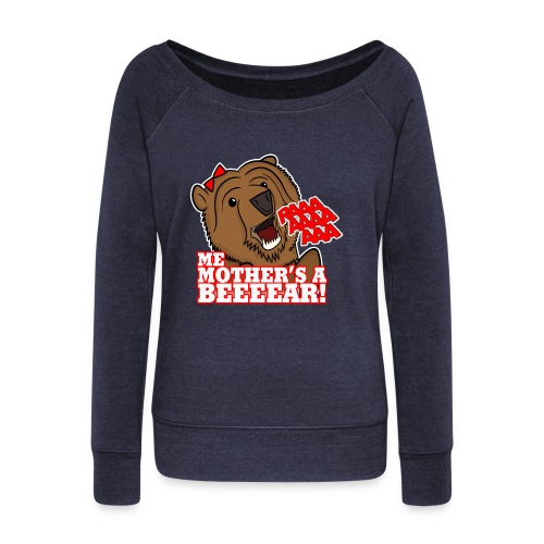 ME MOTHER'S A BEAR! - Womens - Women's Boat Neck Long Sleeve Top