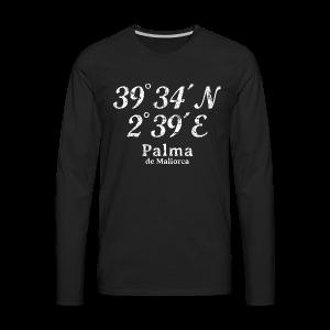Palma de Mallorca Koordinaten Vintage Weiß S-5XL T-Shirt - Männer Premium Langarmshirt
