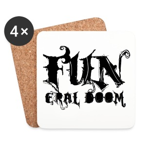 FUNeral doom bear white - Coasters (set of 4)