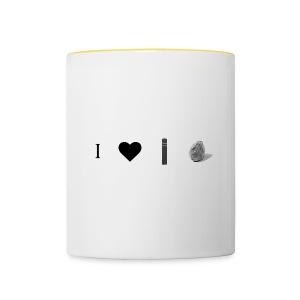 i love post rock bear - Contrasting Mug