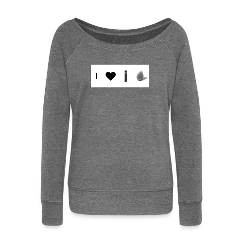i love post rock bear - Women's Boat Neck Long Sleeve Top
