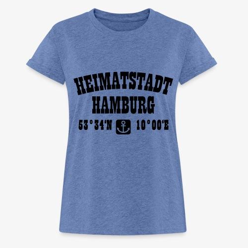 Heimatstadt Hamburg Koordinaten Anker Hoodie - Frauen Oversize T-Shirt