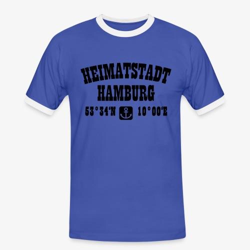 Heimatstadt Hamburg Koordinaten Anker Hoodie - Männer Kontrast-T-Shirt