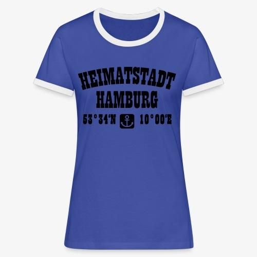 Heimatstadt Hamburg Koordinaten Anker Hoodie - Frauen Kontrast-T-Shirt