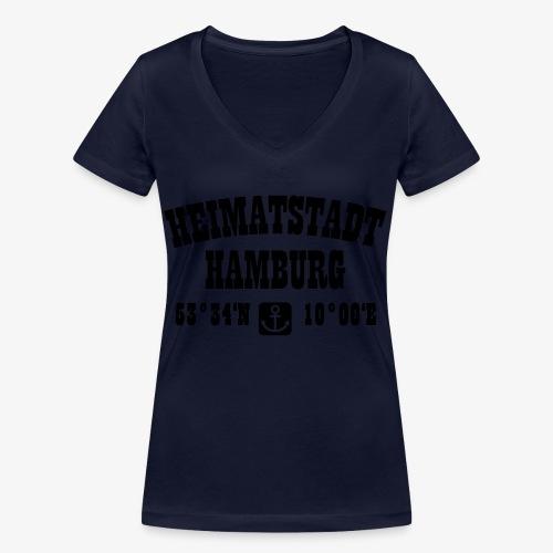 Heimatstadt Hamburg Koordinaten Anker Hoodie - Frauen Bio-T-Shirt mit V-Ausschnitt von Stanley & Stella