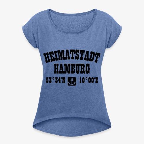 Heimatstadt Hamburg Koordinaten Anker Hoodie - Frauen T-Shirt mit gerollten Ärmeln