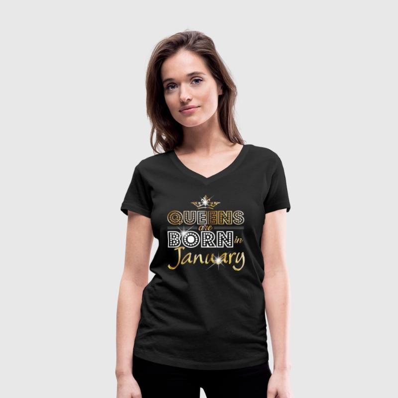 January - Queen - Birthday - 2 Tee shirts - T-shirt col V Femme