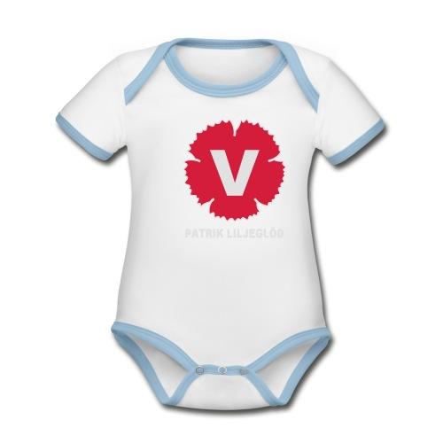 Ekologisk kontrastfärgad kortärmad babybody