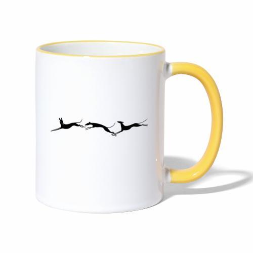 Drei springende Windhunde - Tasse zweifarbig