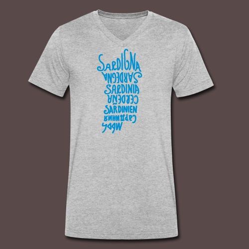 Sardegna, silhouette lingue (donna) - T-shirt ecologica da uomo con scollo a V di Stanley & Stella