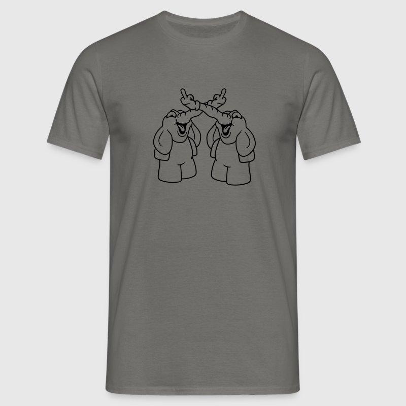 2 venner hold fuck dig kneppe dig ud langfinger ha T-shirts - Herre-T-shirt
