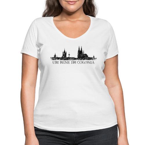 UBI BENE IBI COLONIA Skyline (Vintage Schwarz) Köln Römisch - Frauen Bio-T-Shirt mit V-Ausschnitt von Stanley & Stella