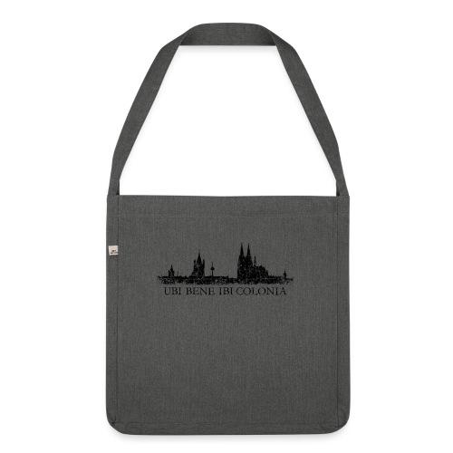 UBI BENE IBI COLONIA Skyline (Vintage Schwarz) Köln Römisch - Schultertasche aus Recycling-Material