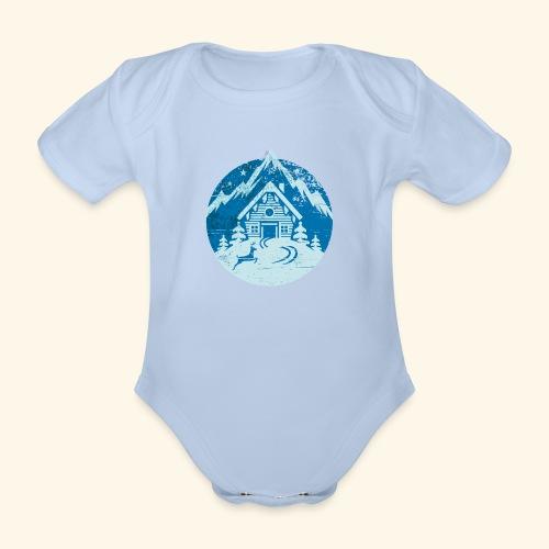 Skihütte, Vintage Look - Baby Bio-Kurzarm-Body