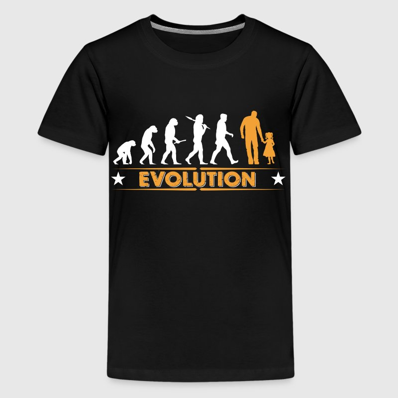 Far og datter - evolution - orange/hvid T-shirts - Teenager premium T-shirt