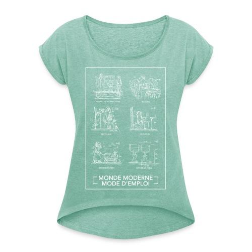 Monde Moderne - T-shirt à manches retroussées Femme