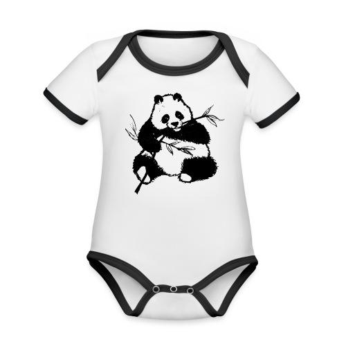 Housse de coussin Panda géant - Body Bébé bio contrasté manches courtes