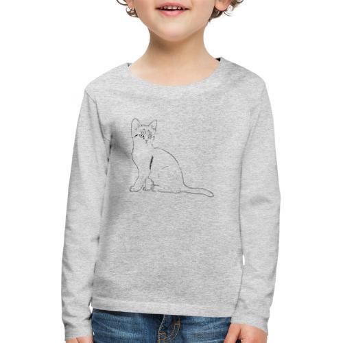 Housse de coussin Chat dessin - T-shirt manches longues Premium Enfant