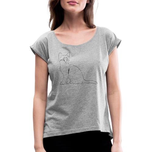 Housse de coussin Chat dessin - T-shirt à manches retroussées Femme